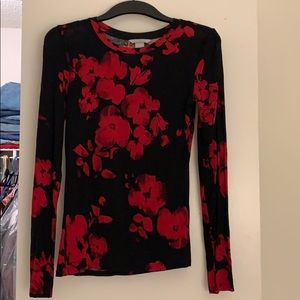 Black & red flower long sleeve jersey T-shirt
